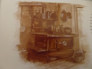 he Tasha Tudor CookBook. Drawing of Tasha's Wood burning oven/stove