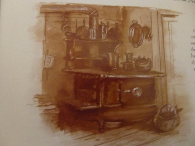 he Tasha Tudor CookBook. Drawing of Tasha's Wood burning oven/stove
