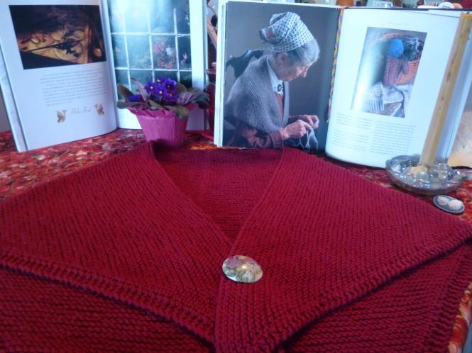 Tasha Tudor style hand- knit shawl