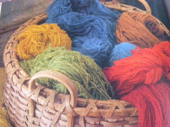 Basket of hand dyed wool yarn