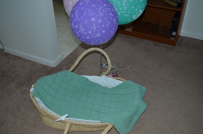 Hand knit baby blanket & moses basket