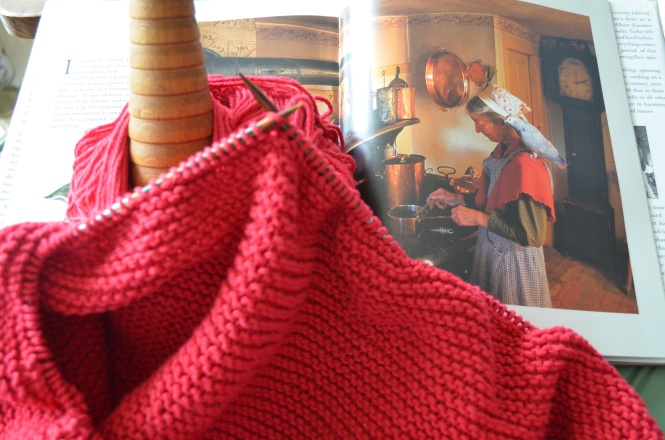 Tasha Tudor Style Hygge Shawl Birthday Tuesday celebration tea time knitting tutorial Tasha Tudor Christmas Valentines Red Hand Knit Tasha Tudor Hygge Shawl Pattern PDF Etsy Shop Irish Cottage style knitting cottage style shawl