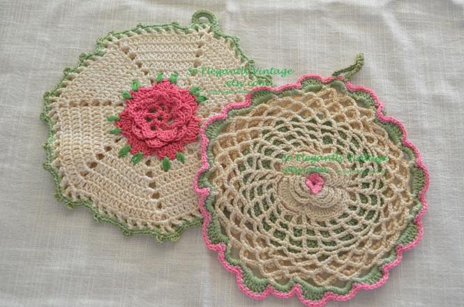 Vintage Cottage Elegance Vintage Mothers Day Gifts Handmade cottage Vintage doilies potholders Spring pastels pink green mothers day sales eleganlyhandmade.etsy.com soelegantllyvintage.etsy.com