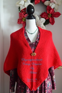 Tasha Tudor style cottage elegance kindred spirit cotton shawl hand knit wool shawl PDF pattern Forever Christmas Red Wool Cottage scarf and hand warmers elegantlyhandmade.wordpress.com