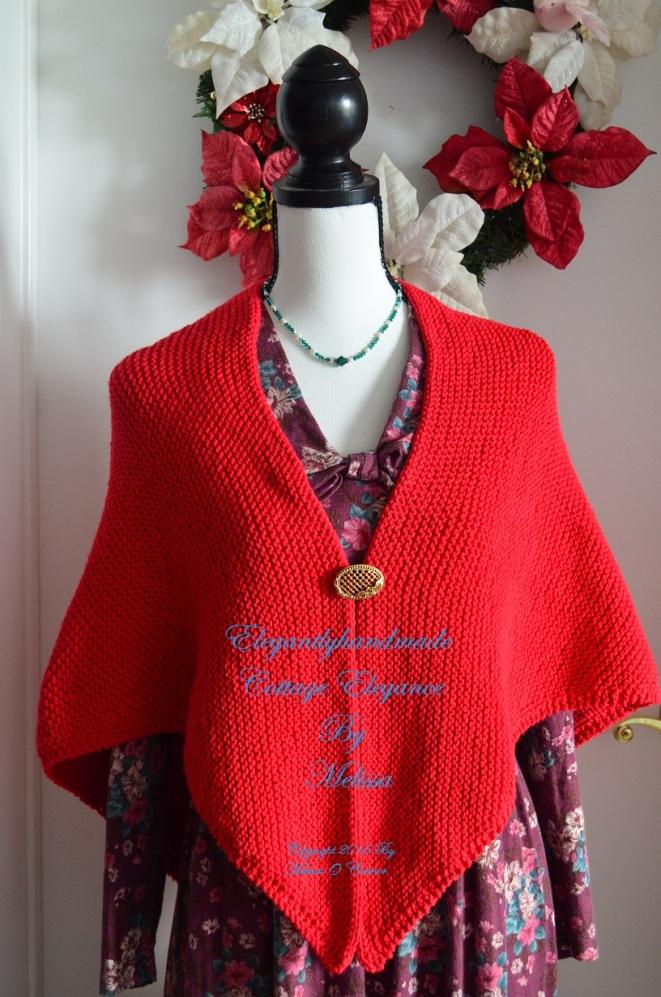 Tasha Tudor Hygge style cottage elegance kindred spirit cotton shawl hand knit wool shawl PDF pattern Forever Christmas Red Wool Cottage scarf and hand warmers elegantlyhandmade.wordpress.com