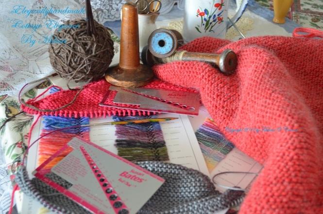 Knitting pattern gauging sourcing knitting Tasha tudor style kindred spirit take peace take joy shawl pattern cottage elegance vintage knitting
