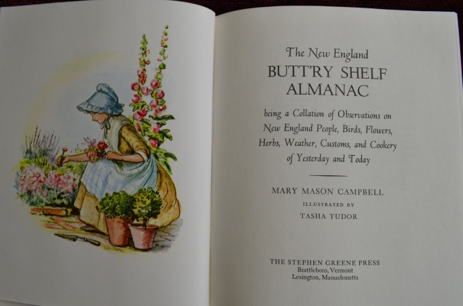 Buttry shelf Almanac Mary Mason Campbell tasha Tudor new england living Sea shore