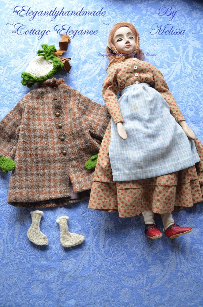 Lucinda 1860 winter wardrobe for dolls hand stitched doll clothing Tasha Tudors dolls Cottage Elegance Dolls doll collectors art dolls