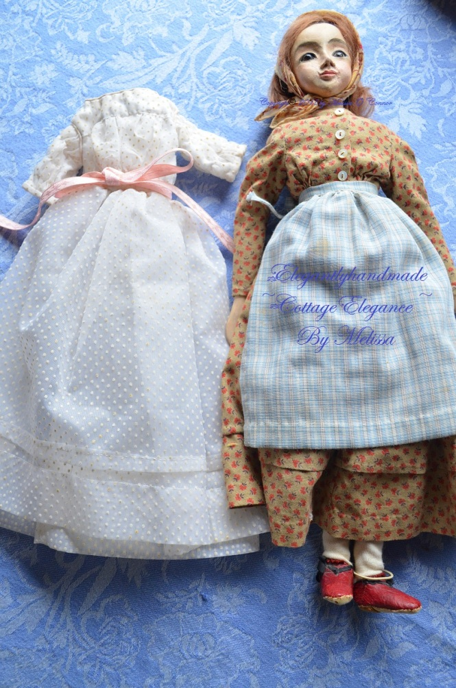 Hand made doll clothing Tasha Tudors dolls handcrated dolls Tasha tudors doll cloths doll collectors Bethany Tudor A doll for Bethany Tudor Lucinda Playing with dolls elegantlyhandmade cottage elegance cottage style dolls