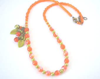 Pumpkin orange Necklace Fall Jewelry Autumnal Elegant Necklace Orange jewelry orange necklace tropical jewelry