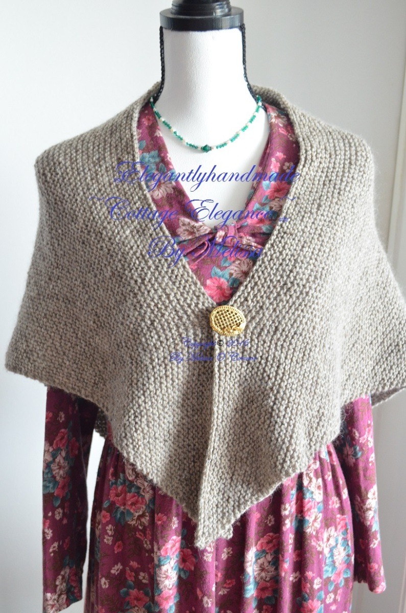 Tasha Tudor style Hygee shawl cottage elegance knitting PDF elegantlyhandmade.etsy.com Hand made home life Rugged sturdy elegant shawl Autumn of my soul hand knitting Handmade in USA