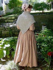Tasha Tudor style colonial reenactor historical costuming custom handknit shawl Fall Autumn sale elegantlyhandmade .etsy .com