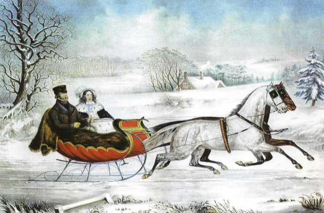 Winter Road Sleigh Rider - Currier and Ives.