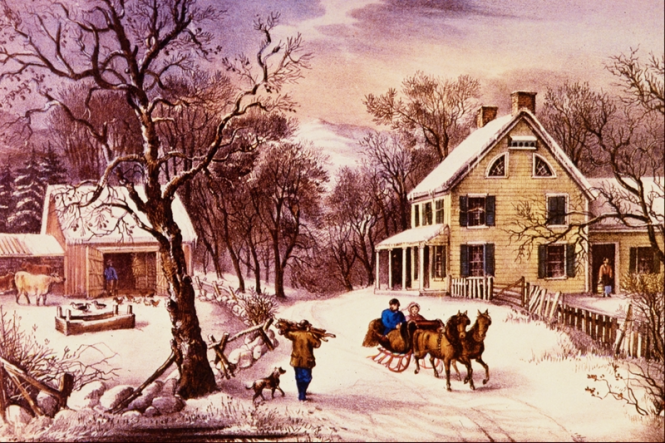 An Old Fashioned thanksgiving Currier and Ives Over The River and through the snow Thanksgiving blessings family gathering