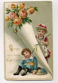 Happy New Year 2017 Victorian Post Cards Paper cones Tasha Tudor style elegantlyhandmade.wordpress.com