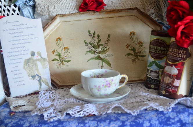 Tea Cup Tuesday Limoges France China Violets print Valentines Day Gift Republic Tea German tea tray